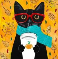 BLACK CAT WITH A WHITE COFFEE CUP AND RED SUNGLASSES 2017