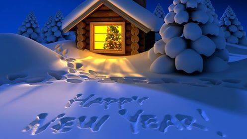 Happ New Year written in show & a cabin